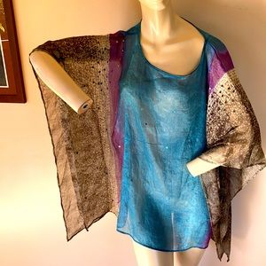 Chico's kimono top one size shimmery lightweight blue purple brown sequin